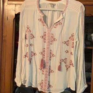 Lucky blouse cream pink & gold. Pink tassels. Sz L